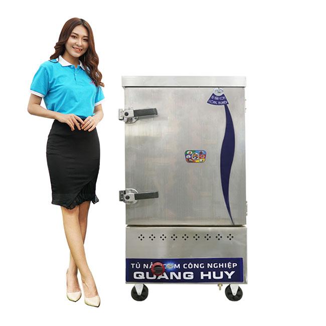 Mẫu tủ hấp cơm 8 khay bằng gas Quang Huy phân phối
