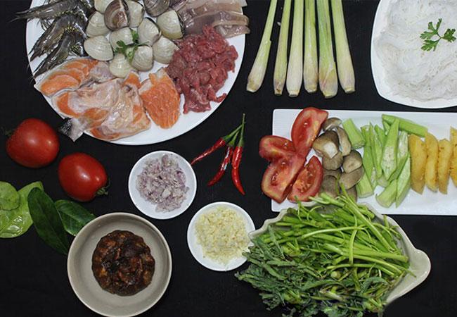Nguyên liệu cần chuẩn bị nấu bún hải sản chua cay