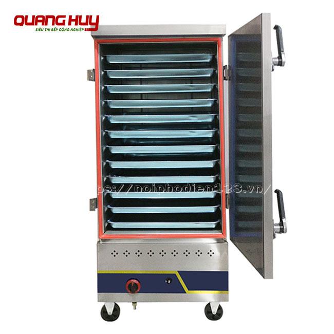 Tủ nấu cơm công nghiệp 12 khay dùng gas bền đẹp, năng suất nấu hấp thực phẩm số lượng lớn