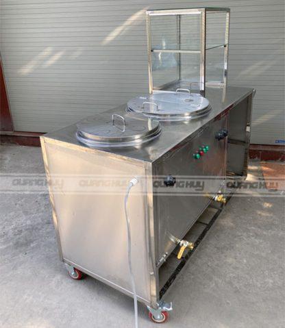 Tủ kính bán phở 2 nồi điện đun nấu