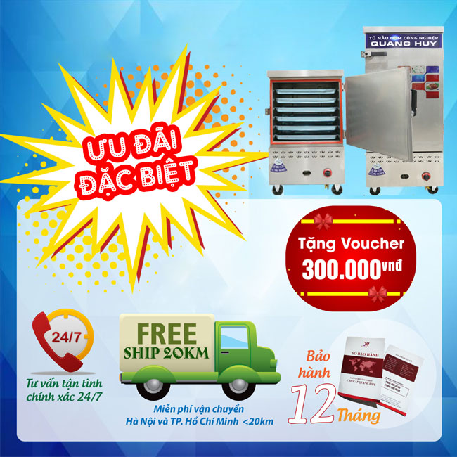 Ưu đãi khi mua tủ cơm công nghiệp Quang Huy