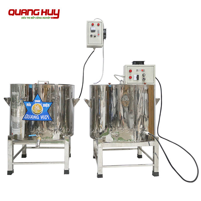 Nồi nấu cháo bằng điện công nghiệp Quang Huy Inox 304 tiết kiệm điện