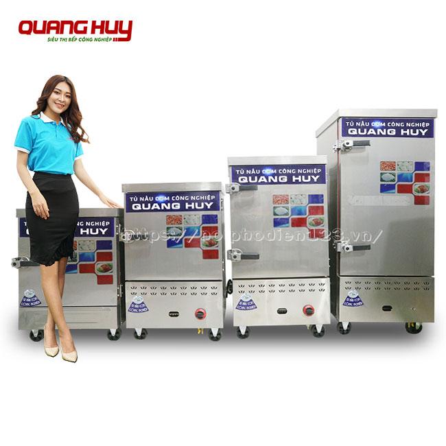Mẫu tủ nấu cơm công nghiệp điện gas Quang Huy từ 6, 8, 10, 12, 24 khay Quang Huy