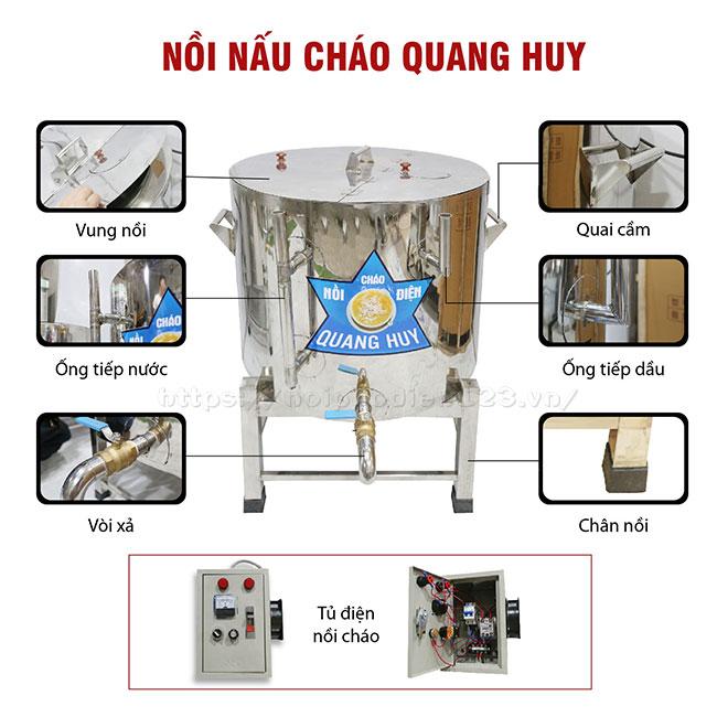 Cấu tạo nồi điện nấu cháo công nghiệp Quang Huy