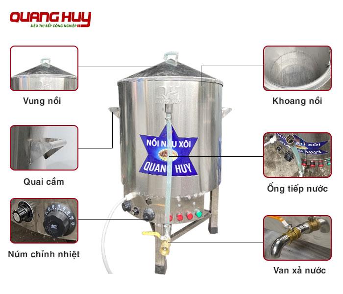 Cấu tạo nồi hấp xôi bằng điện 1 tầng Quang Huy