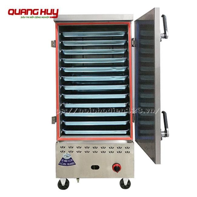 Mẫu tủ nấu cơm công nghiệp dùng cả điện và gas 12 khay