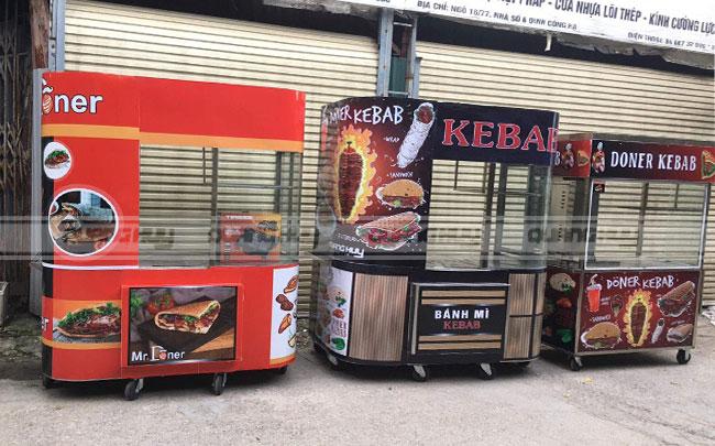 Mẫu xe đẩy bán bánh mì hàng rong vỉa hè Kebab Torki