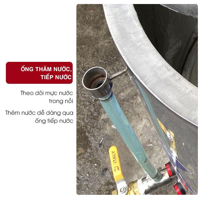 Ống tiếp nước, ống thăm dò mực nước, kiểm soát lượng nước trong nồi