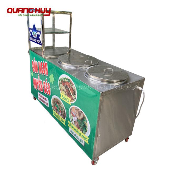 Thiết kế tủ bán bún hải sản với ngăn kính để đồ tiện lợi