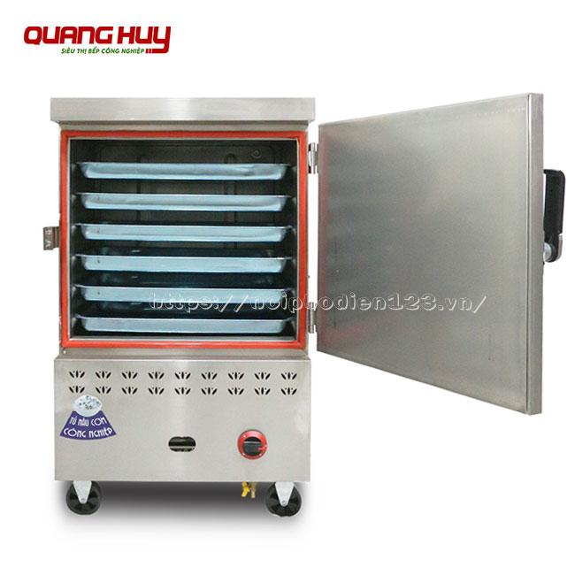 Tủ nấu cơm công nghiệp 6 khay gas + điện Quang Huy
