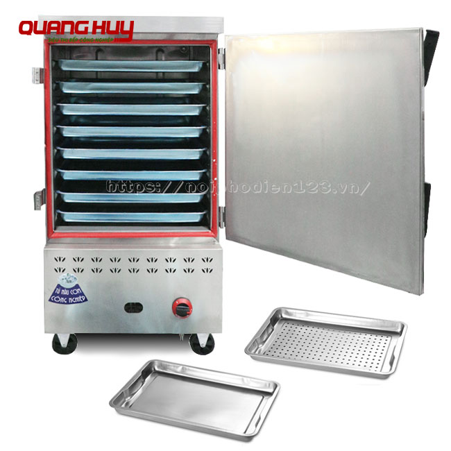 Tủ nấu cơm công nghiệp 8 khay điện gas Quang Huy bền, đẹp