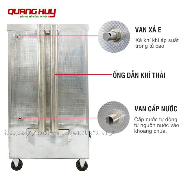 Van xả áp suất, van nước, ống dẫn khí thải phía sau tủ cơm công nghiệp gas điện
