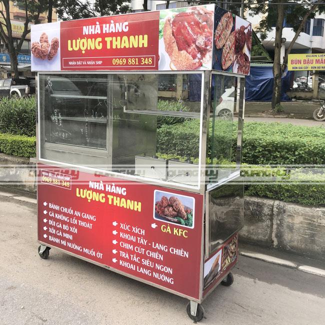 Xe bán đồ chiên, gà rán, bánh chuối có bếp chiên nhúng điện