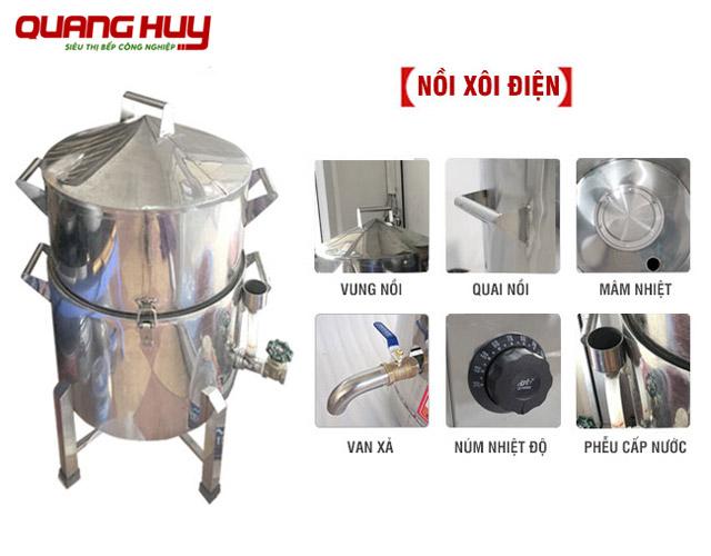 Cấu tạo chi tiết sản phẩm nồi hấp xôi Quang Huy