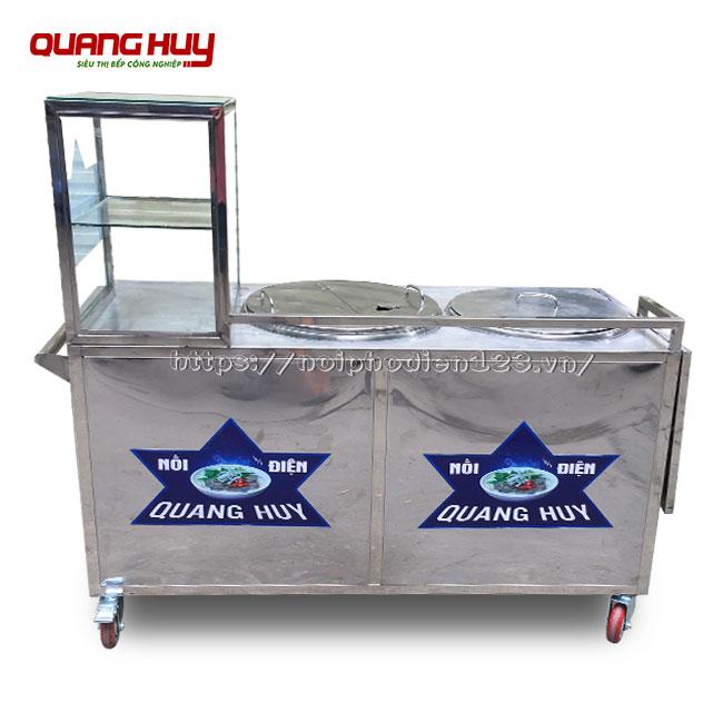 Xe đẩy bán súp cua Quang Huy thiết kế 2 nồi nấu điện