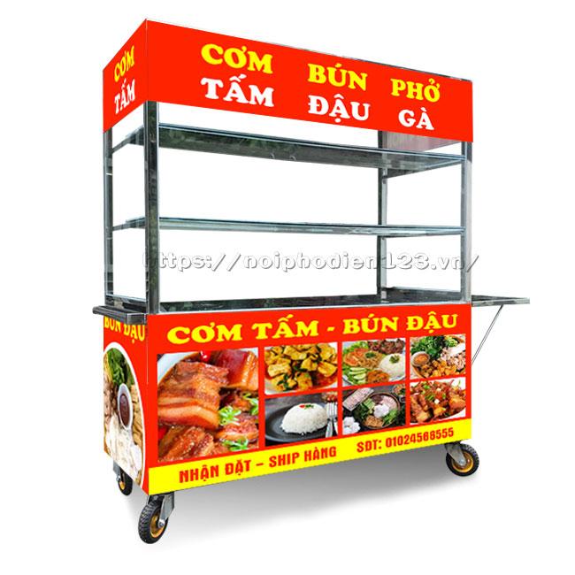 Xe tủ đẩy bán cơm Inox 304 Quang Huy gia công