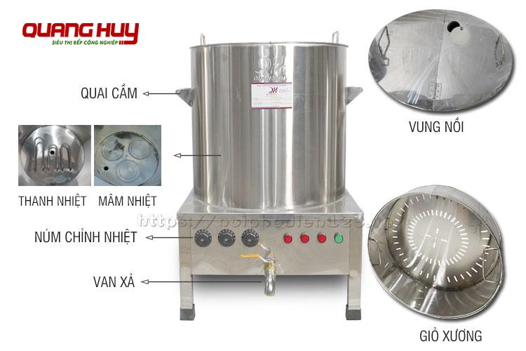 Cấu tạo nồi điện giữ nhiệt công nghiệp Quang Huy