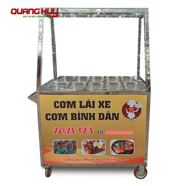 Tủ bán cơm hâm nóng, thức ăn giá rẻ Quang Huy