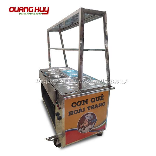 Tủ kính bán cơm hâm nóng, giữ nhiệt thức ăn Quang Huy
