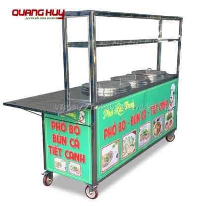 Xe đẩy bán bún phở kèm tủ kính 3 nồi điện Quang Huy