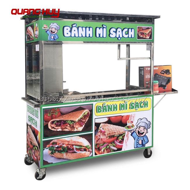 Xe đẩy bán bánh mì Thổ Nhĩ Kỳ ( Doner Kebab ) Inox 304 Quang Huy