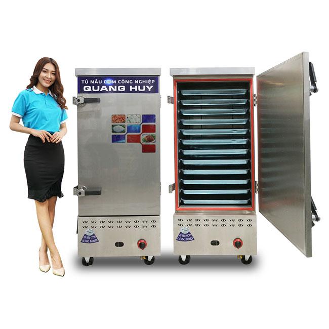 Mẫu tủ cơm công nghiệp 12 khay dùng điện gas tích hợp