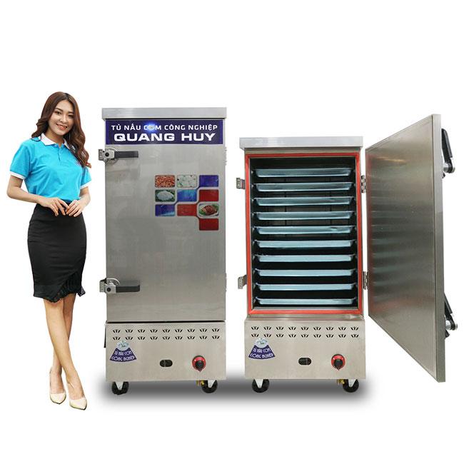 Mẫu tủ nấu cơm gas điện 10-12 khay Quang Huy