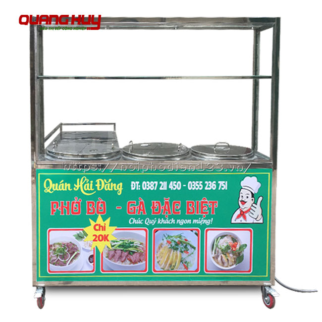 Quầy bếp bán hàng hình chữ L tich hợp 3 nồi nấu điện
