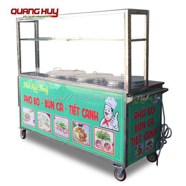 Tủ kính bán phở bò, bún cá tích hợp 3 nồi nấu điện