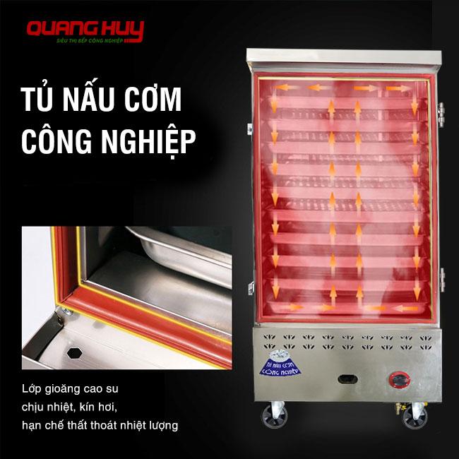 Viền cửa tủ cơm có gioăng cao su chịu nhiệt, kín hơi