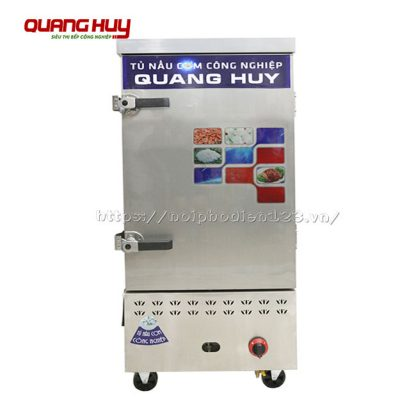 Tủ hấp cơm 10 khay điện gas Quang Huy