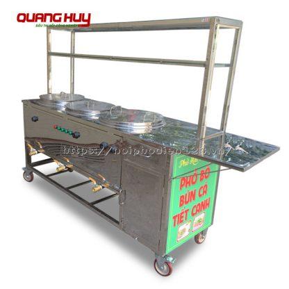Tủ kính bán bún phở tích hợp 3 nồi điện kèm bánh xe đẩy Quang Huy