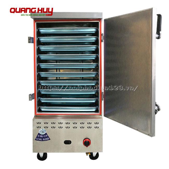 Tủ nấu cơm công nghiệp 10 khay bằng điện gas Quang Huy