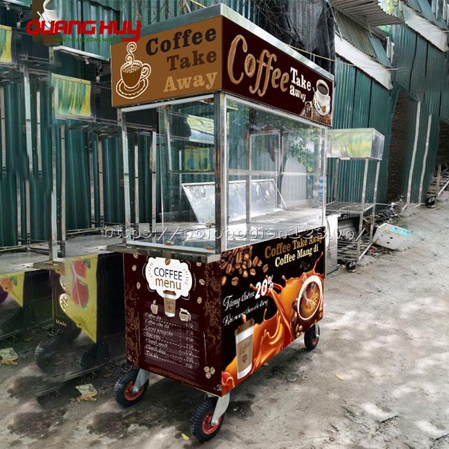 Xe đẩy bán cafe dạo, lưu động mái bằng