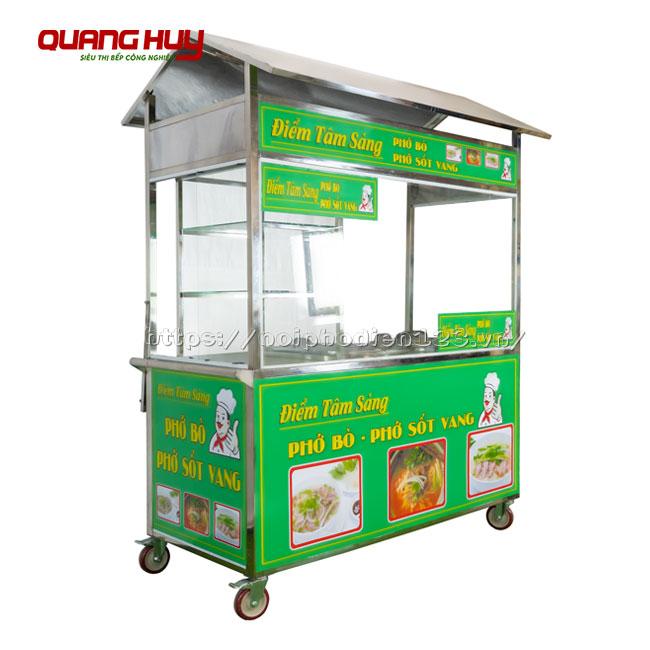 Xe bán phở Inox 304 Quang Huy 2 nồi điện