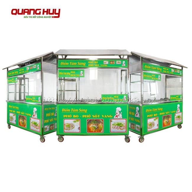 Xe đẩy bán bún phở tích hợp 2 nồi điện Quang Huy