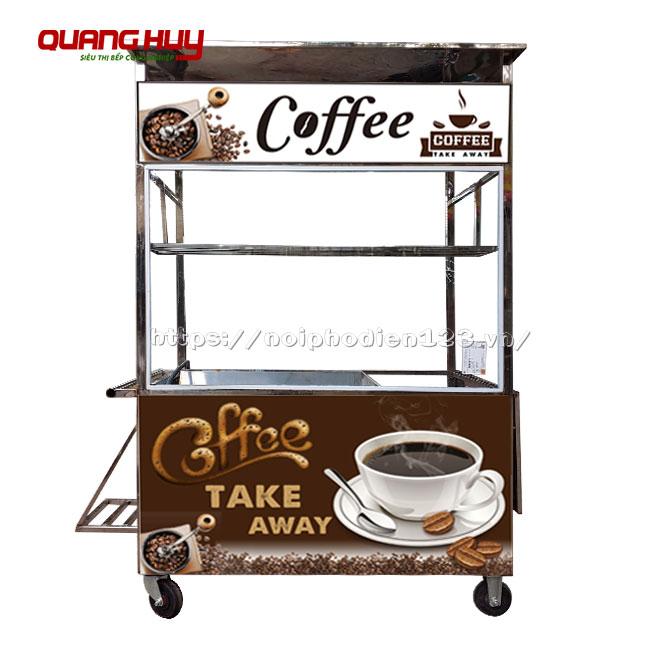 Xe đẩy bán cà phê mang đi Inox 304 không gỉ