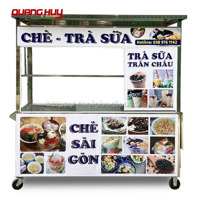 Xe đẩy bán trà sữa Inox Quang Huy