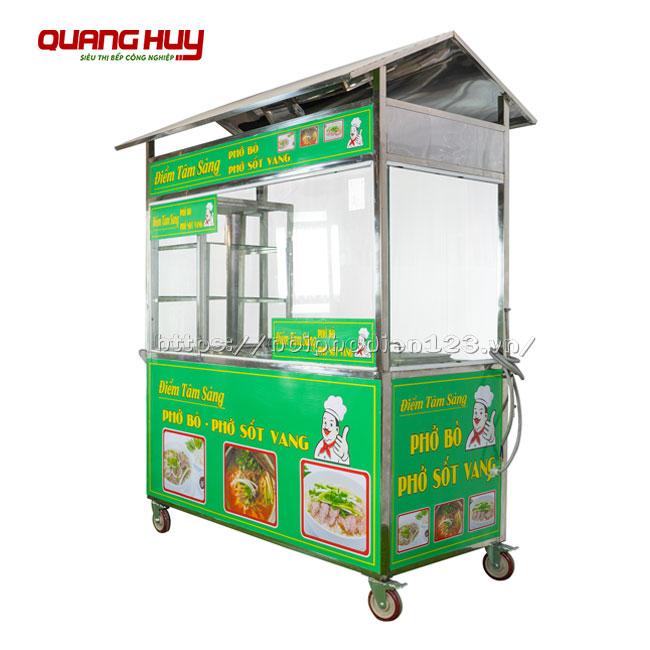 Xe tủ kính bán hàng bún phở bò Quang Huy
