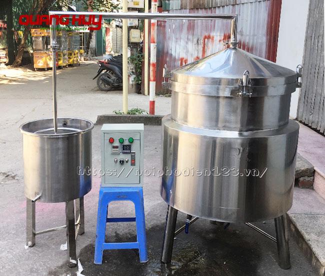 Bộ nồi nấu, chương cất rượu bằng điện Quang Huy