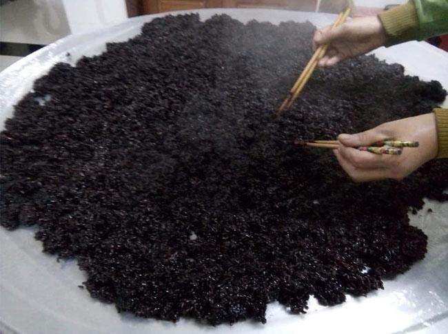 Nấu cơm rượu nếp cẩm với lượng nước vừa phải, tránh nhão cơm