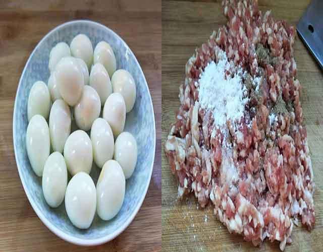 Nhân trứng cút thịt băm